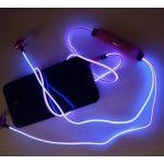 """Светящиеся вакуумные металлические наушники """"GLOW"""" с синим свечением"""