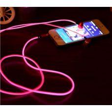 """Светящиеся вакуумные металлические наушники """"GLOW"""" с розовым свечением"""